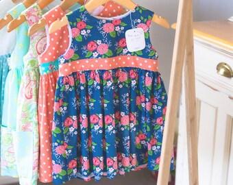 Dark Blue Floral Cotton Dress