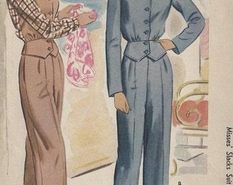 "1944 Vintage Sewing Pattern B30""-W25"" SUIT- JACKET & PANTS (105) McCall's 5606"