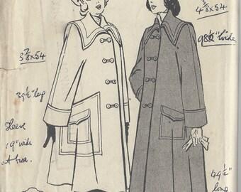 1940s Vintage Sewing Pattern B34 SWING COAT (1092) Butterick 4706