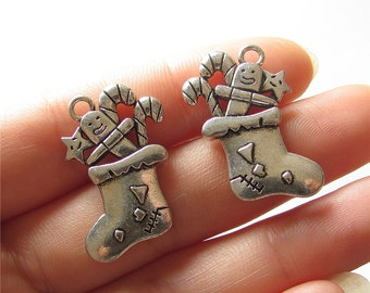 Christmas Stocking Charm Pendant Antique Silver Drop Handmade Jewelry Finding 18x28mm 2 pcs