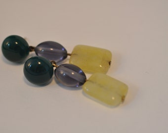 Gems, green agate cabochon, yellow jade, purple glass bead earrings