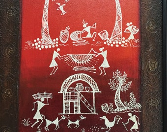 Original Warli Art painting by our shop's own Artisan - Acrylic on Canvas in Yellow, Green & Red on a brown background ideal Christmas gift
