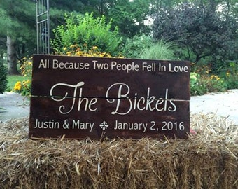 All Because Two People Fell in Love Wedding Anniversary Sign