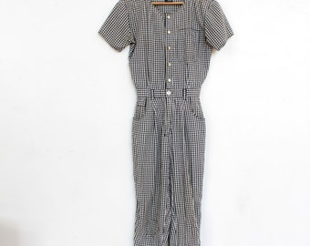 80s Black & White Gingham Jumpsuit / Pantsuit / Jumper