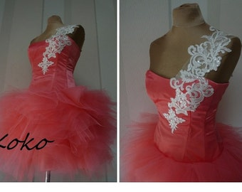 KOKO, coral Prom dress,coctail dress, Tulle bridesmaid dress, Knee-length formal dress,Sweetheart party,evening dress, new years eve