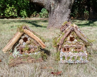 Hand-Made Fairy Cottages (Log Cabin Style)