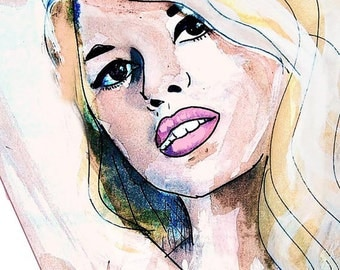 Bridget Bardot Print, Bridget Bardot Art, Bardot Artwork, Glamorous watercolor art print, fashion print, brigitte bardot art illustration
