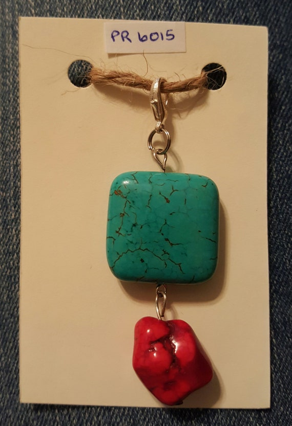 Turquoise and Red Pendant / Removable Pendant / Turquoise Howlite Pendant / Southwestern Jewelry / Boho Jewelry / Hippe Jewelry/ PR6015