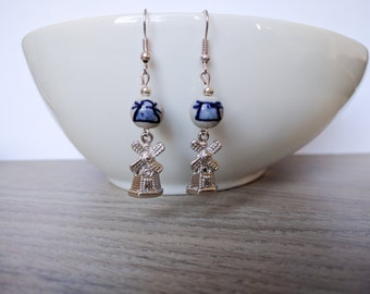 Earrings Delft Blue, earrings mill, Holland, Dutch
