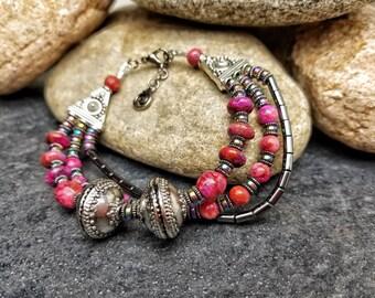 Chunky Dark Pink Bracelet, Multi-Strand Pink and Silver Bracelet, Boho Bohemian Bracelet, Gray and Pink Gemstone Statement Bracelet
