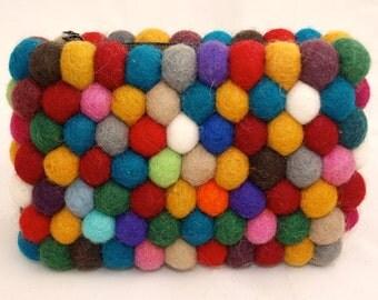 Hand Felted Rainbow Ball Purse