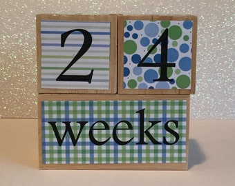 Wooden Baby Age Blocks/Pregnancy Blocks/Milestone Blocks - Blue & Green stripes, dots and plaid