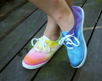 Over The Rainbow Tie-Dye Canvas Shoes // Hand Dyed Shoes //