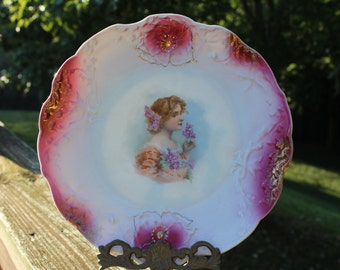 Vintage Plate - Woman with Purple Lilac