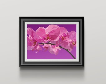 Pink Orchid Art Print orchid flower on purple background wall art, flower poster print Home Decor