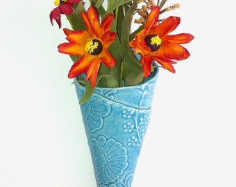 Glacier Blue Cone with paper flowers