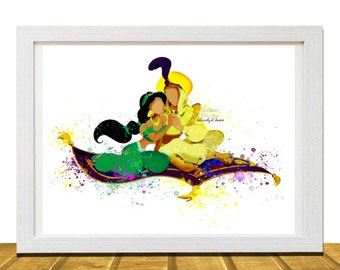 Jasmine and Aladdin Inspired 8 X 10 Wall Art, Watercolor Disney Poster
