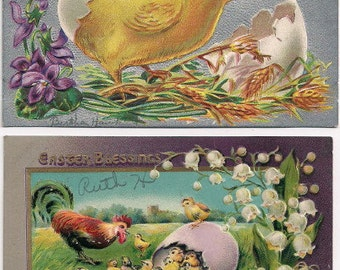 Pair of Easter Postcards with Chicks