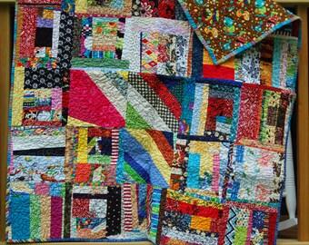 Baby Quilt / Cotton Quilt / Crazy Quilt / Scrappy Quilt / Colorful Quilt / Fun Fabrics / Heirloom Quilt