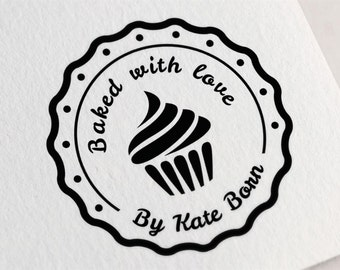 Baked with Love Stamp, Food Packaging Stamp, Cupcake Stamp, Label Stamp with Cupcake, Handmade Stamp, From the Kitchen of Stamp Z28