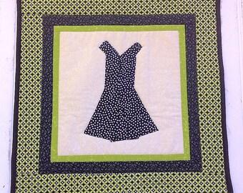 Black Polka Dot Dress Wall Quilt