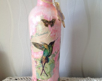 Hummingbird decoupage bottle