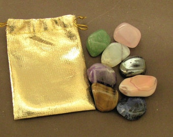 Prosperity Pouch with 8 Natural Tumbled Stones+Pouch+Instructions for Manifesting Prosperity