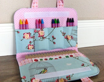 Crayon case, Crayon holder, Crayon folio, Travel toy, Coloring bag with personalization label, Perfect gift for kids, Sakura flower