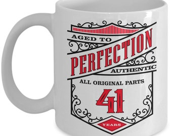 41st Birthday Gift Coffee Mug - Aged To Perfection 41 Years - Amazing Present Idea For Him or Her