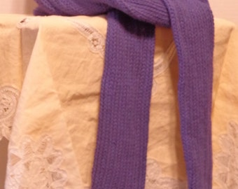 Purple hand knit scarf with fringe