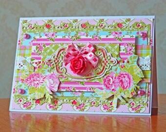 Handmade Layered Floral Greetings Card