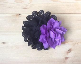 Black, purple hair clip