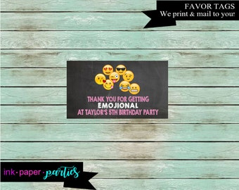 Emoji Emojis Emojicons Birthday Party Favors Favor Bag Tag Tags Card Cards - We Print and Mail to you!