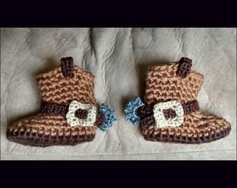 Crochet infant cowboy booties 0-12 months!