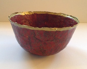 Red and Gold Papier Mache Bowl/Chinoiserie Bowl/Handmade Bowl/Hand Decorated Bowl/Artisan Bowl