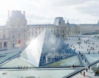 The Louvre, Paris, France, museum, architecture, photography, pyramid, wall art