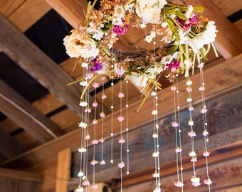 Vintage Rustic Chic Style Flower Chandelier (Great for Wedding or Nursery)