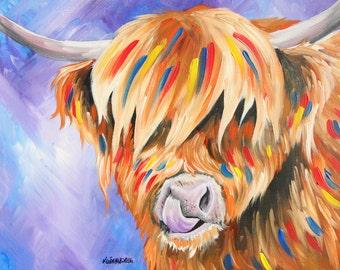 Purple Highland Cow Print A3