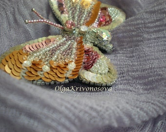 Embroidery  brooch Butterfly,  jewelry, gold, bronze,  fire, Ivory, magenta, violet,silver, design embroidery, handmade, sequins and beads