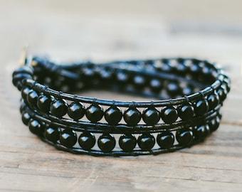 Leather wrap bracelet, Agate bracelet, Beadwork bracelet, Natural stone bracelet