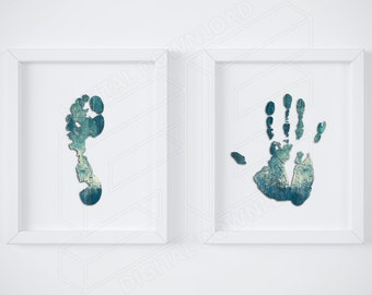 Abstract art, Set of 2 prints, Foot print, Simple print, Wall art, Silhouette prints, Minimal print, Hand print, Set printable, Home decor