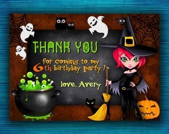 Halloween Thank You Card-Halloween Birthday Thank You Card- PRINTABLE Halloween Thank You Card-Halloween Party Printables