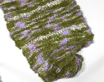 Knitted merino Scarf-Khaki/Lavender