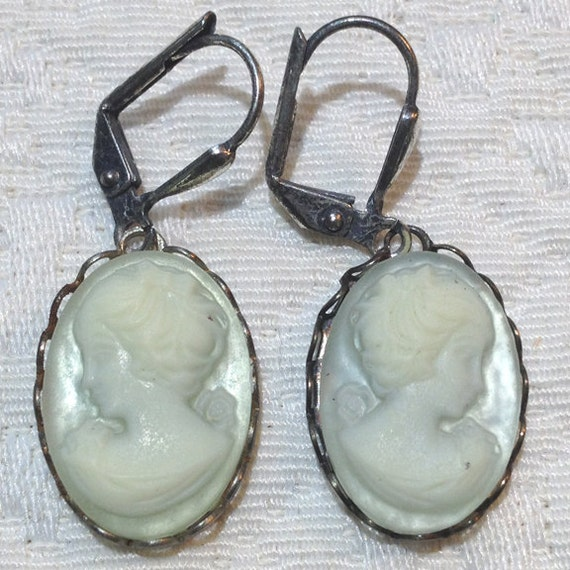 Light Icy Blue - Cameo Earrings - Hand Dyed