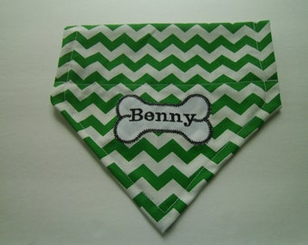 Dog Bandana, Chevron,  Personalized, Monogram, Bone,  Over the Collar, dog scarf, Embroidery