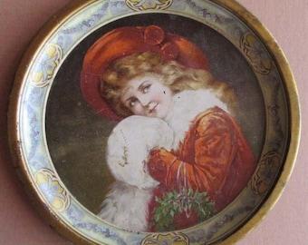 Art Plate Circa 1900 Vintage Tin Metal Portrait Plate Christmas Girl