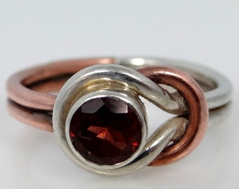 Artistic, Sterling Silver Mixed Metals & Garnet Lady's Ring