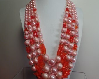 1950's Bead Necklace with Unusual Color Combination-Japan
