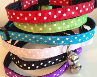 The Polka Dot Cat Collar in Red, Green, Blue, Pink, Black, Purple