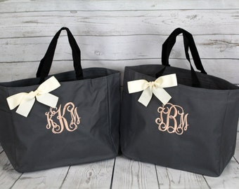 7 Personalized Bridesmaid Gift Tote Bags Monogrammed Tote, Bridesmaids Tote, Personalized Tote